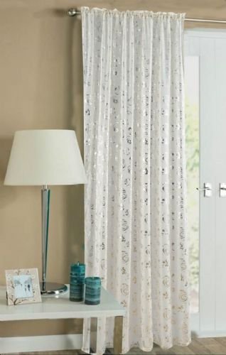 CREAM COLOUR SLOT TOP READY MADE STYLISH FLORAL DESIGN LIGHT NET VOILE PANEL